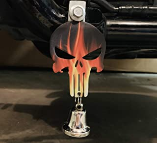 Kustom Cycle Parts Universal Flames Punisher Skull Bell Hanger - Bolt and Ring Included. Fits all Harley Davidson Motorcycles & More! Proudly MADE IN THE USA! (No Bell)