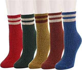 5 Pack Women's Warm Thick Knit Wool Cozy Socks Colorful Casual Fall Winter for Gift