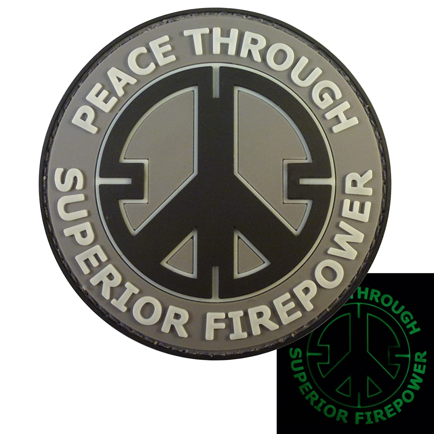 LEGEEON ACU Peace Through Superior Firepower Glow Dark Subdued Crosshair Morale PVC Rubber Touch Fastener Patch