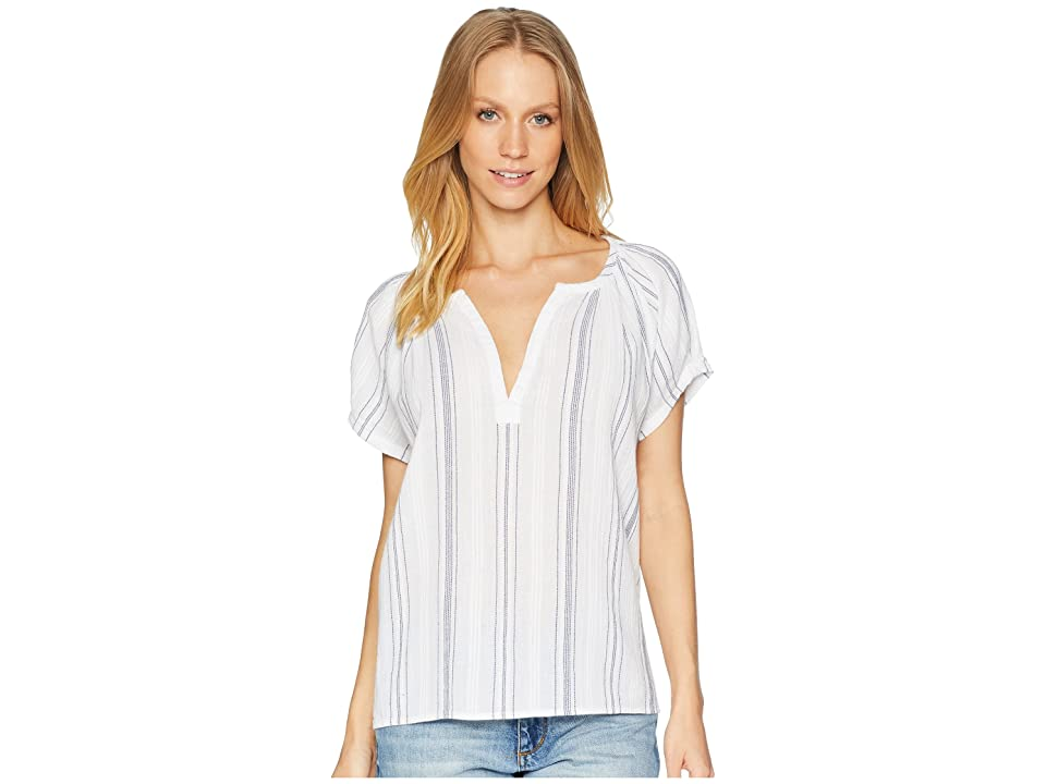 Image of AG Adriano Goldschmied Ariel Blouse (White/Navy) Women's Blouse