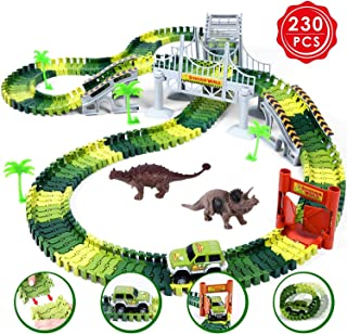 Ohuhu Dinosaur Race Track Toys, 230 Pieces Race Car Flexible Tracks Play Set, Create A Road, 2 pcs Cool Dinosaur for 3 4 5 6 Year & Up Old Boys Girls Birthday Gift