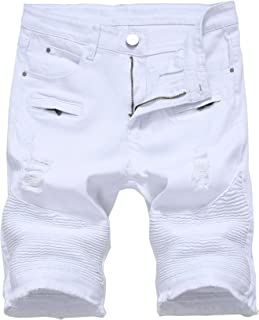 Men's Ripped Distressed Slim Fit Holes Denim Shorts