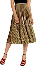Chartou Women's Glitter Metallic Chevron Pattern Gold & Silver Mid-Long Accordion Pleated Skirts