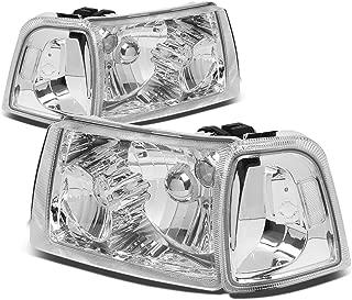 For Ford Ranger 4Pcs Chrome Housing Clear Corner Headlight+Corner Lights Kit Replacement