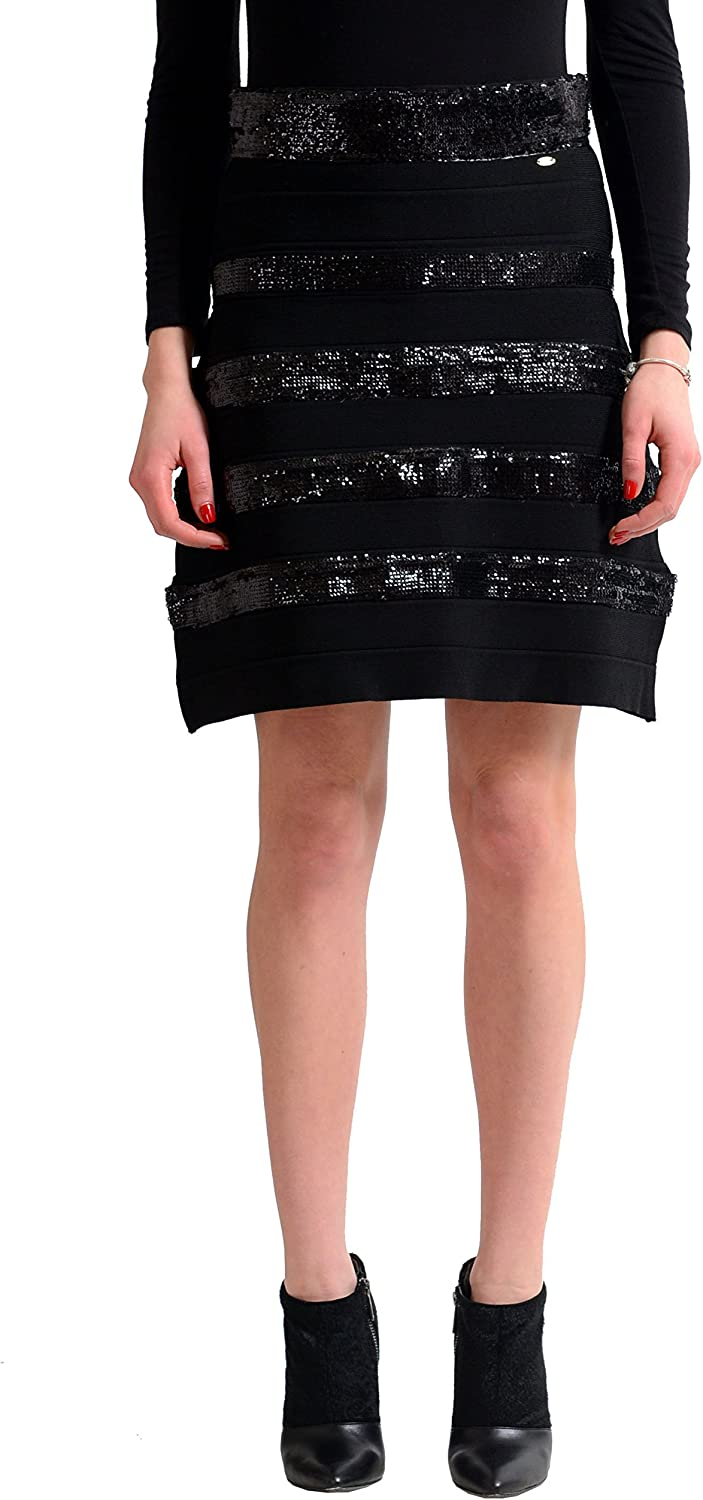 Just Cavalli Women's Black Knitted Sequin Embellished ALine Skirt US S IT 40