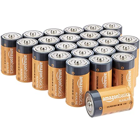 Basics C Cell Everyday Alkaline Batteries 24-Pack Renewed