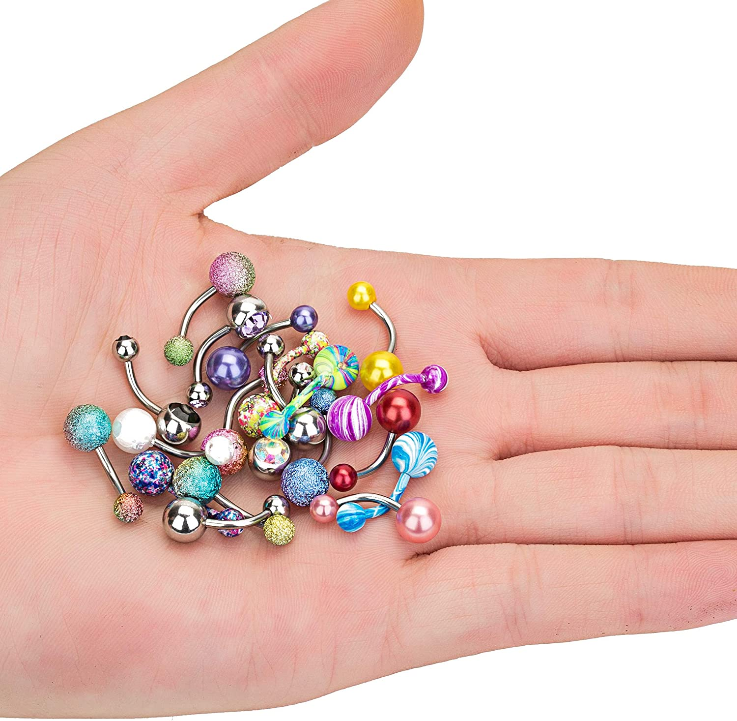 Masedy 20Pcs Stainless Steel Belly Button Rings for Women Girls Curved Navel Barbell Rings CZ Body Piercing Jewelry