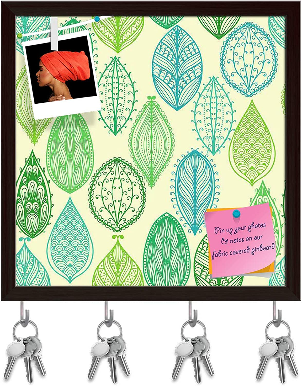Artzfolio Vintage Ornate Leaves Key Holder Hooks   Notice Pin Board   Dark Brown Frame 20 X 20Inch
