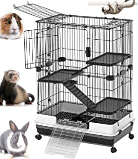 Mcage Large Indoor Small Animal Pet Habitat Hutch Cage Playpen Guinea Pig Ferret Chinchilla Rabbit Bunny Cat Kitten with Solid Platform and Ramp, Leakproof Litter Tray
