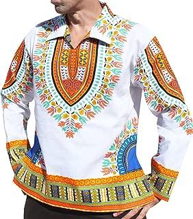 Brand European Poets Collar Long Sleeve Shirt African Dashiki Art