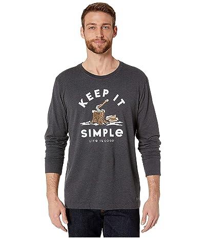 Life is Good Long Sleeve Crusher Wood Chop T-Shirt (Heather Night Black) Men