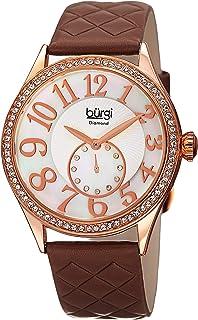 ساعة للنساء بمينا من عرق اللؤلؤ وسوار جلد من بورغي باللون البني، طراز Bur141Rgbr