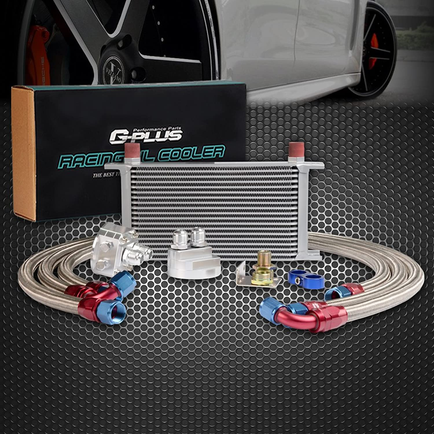 AN10-10AN 19 Row Universal Engine Aluminum Transmission Oil Cooler Kit Oil Filter Relocation Kit
