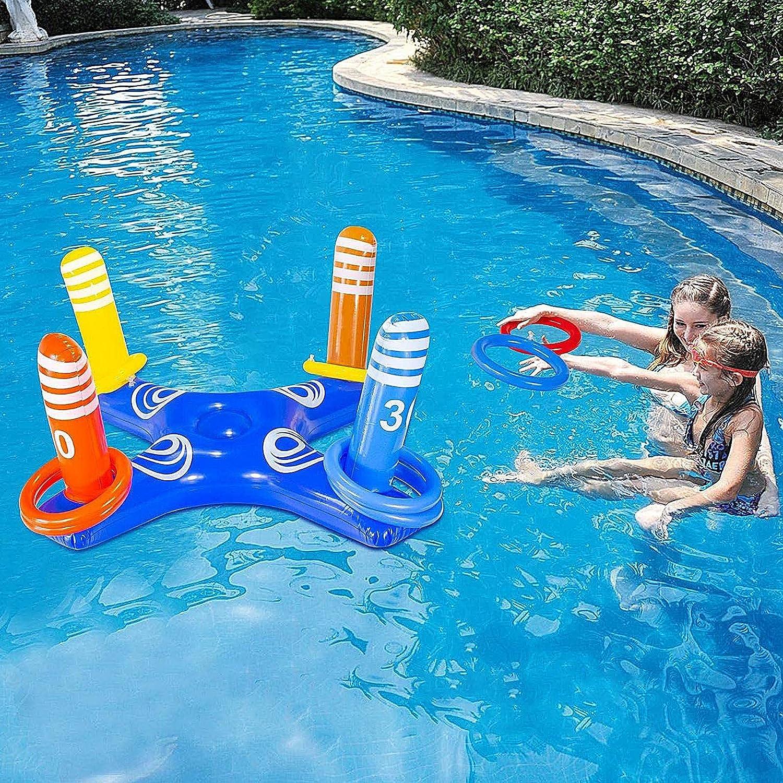 Juego de piscina hinchable con forma de cactus, anillo hinchable toss, juego divertido para fiestas en la piscina, accesorios de agua, juguete divertido para niños y adultos (2)