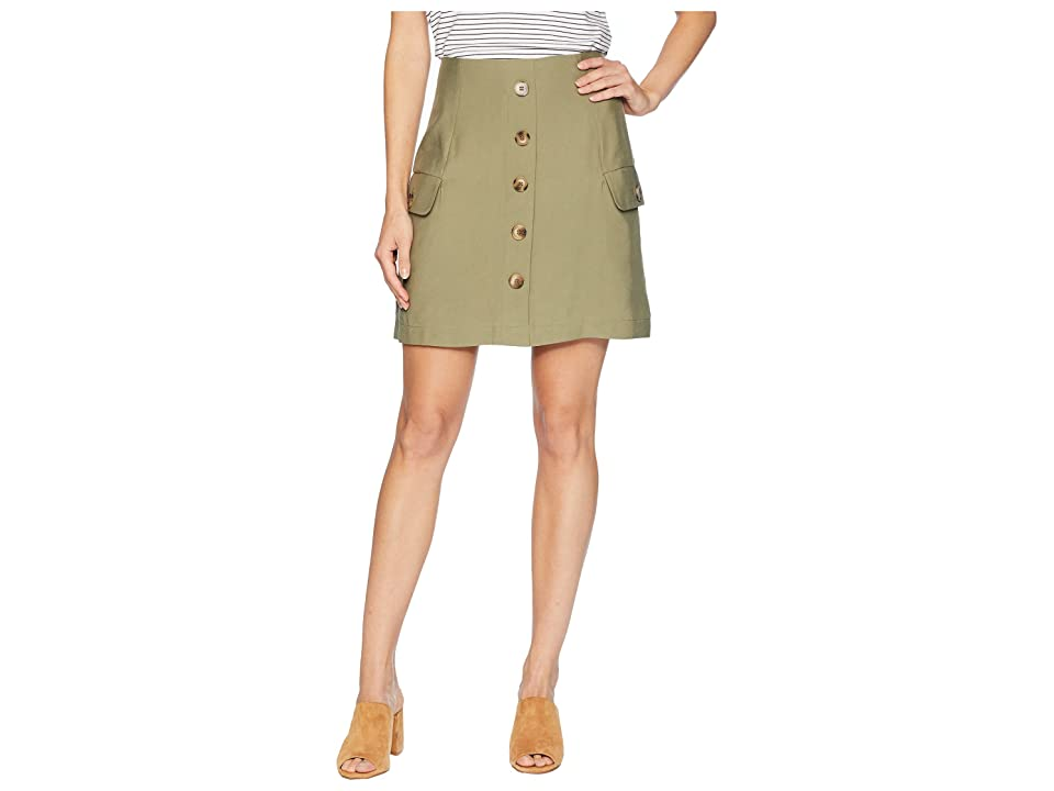 J.O.A. Button Down Skirt (Olive) Women
