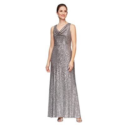 Alex Evenings Long Sleeveless Ombre Sequin Dress (Silver/Multi) Women
