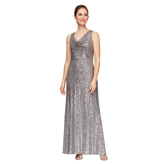 70s Dresses – Disco Dress, Hippie Dress, Wrap Dress Alex Evenings Long Sleeveless Ombre Sequin Dress SilverMulti Womens Dress $269.00 AT vintagedancer.com