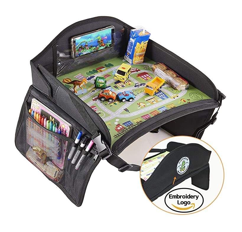 KIDSNEAR Kids Travel Tray, Toddler Car Seat Travel Tray, Food and Snack Tray, Stroller Tray, Travel Play Tray for Airplane or Car with Toy Organizer, Dry Erase Board, iPad, Tablet, and Cup Holder