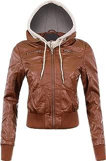 Womens Fleece Hood Faux Leather Zip Up Moto Biker Bomber Jacket