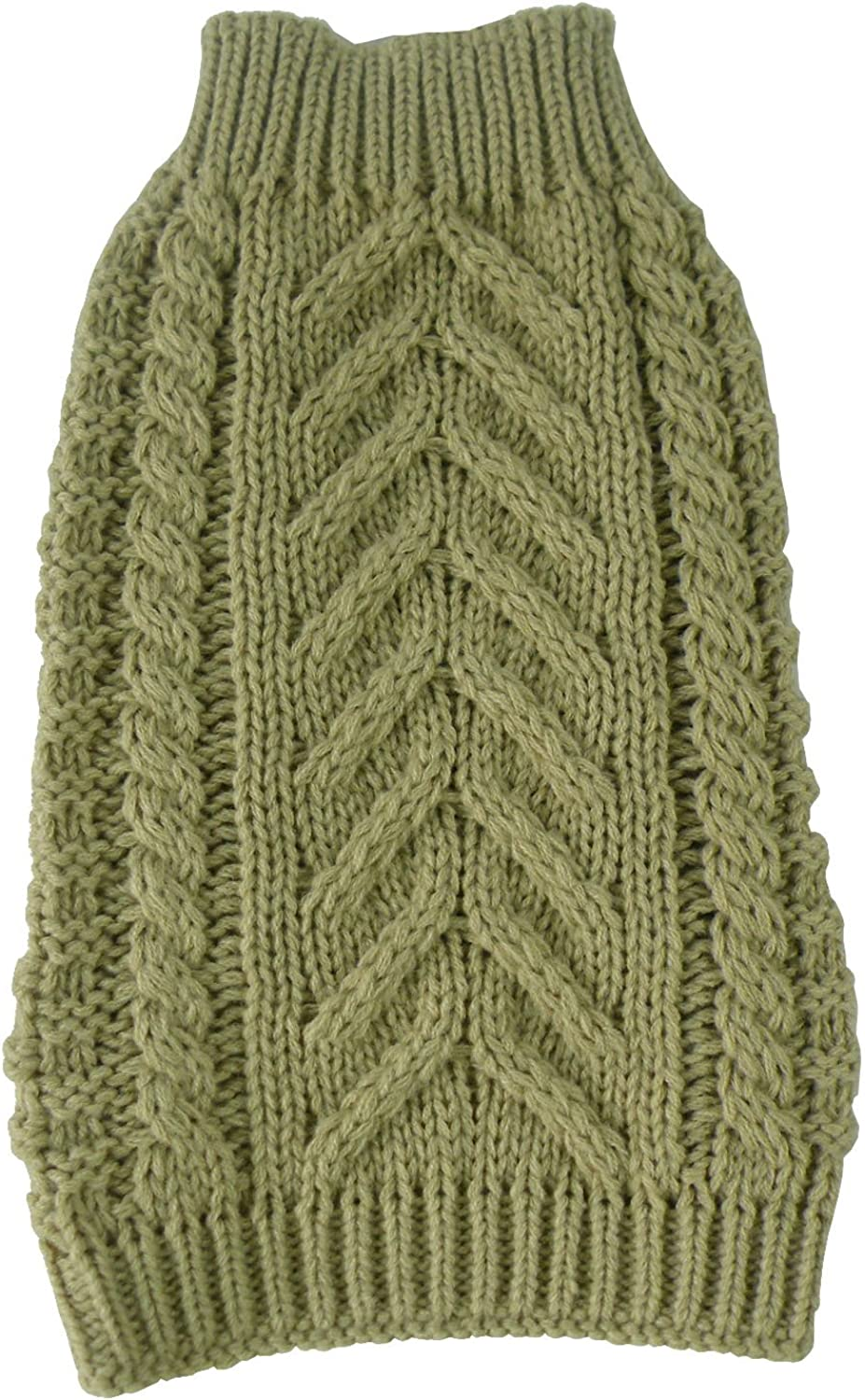 PET LIFE 'SwivelSwirl' Heavy Cable Knitted Fashion Designer Pet Dog Sweater, XSmall, Tan Brown