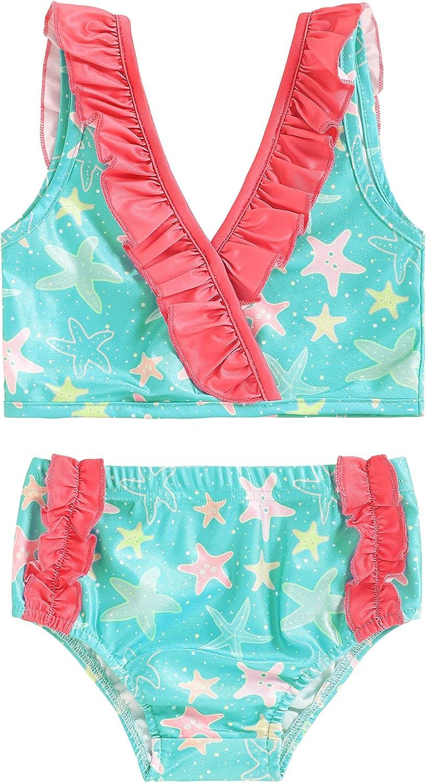 WALSONER Baby Infant Girl Swimsuit Bikini Halter Top+Ruffled Shorts Starfish Bathing Beach Swimwear 6-12 Months