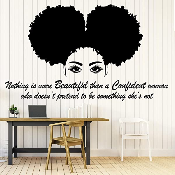 Afro Wall Art Decals Decor Afro American African Girl Hair Black Women Salon Stickers Afro Decorations Pictures Posters Motivational Inspirational Quotes AA043