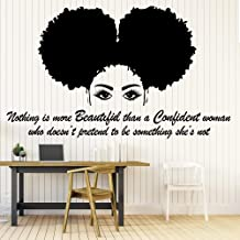 Afro Wall Art Decals Decor - Afro American African Girl Hair Black Women Salon Stickers - Afro Decorations Pictures Posters Motivational Inspirational Quotes AA043