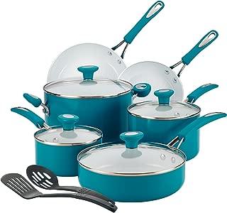 SilverStone 16048 Ceramic Nonstick Cookware Pots and Pans Set, 12 Piece, Marine Blue