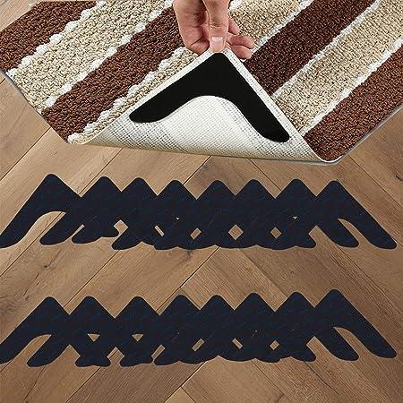 Upgrade Carpet Corner Sticker Anti Curling Non-slip Rug Stopper 8pcs Rug Gripper for Wooden Floors Reusable /& Washable Rug Tape for Carpets White