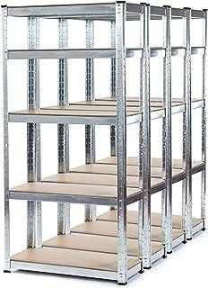 Estantería galvanizada resistente para garaje de 4 compartimentos (5 niveles 1500 mm de alto x 700 mm de ancho x 300 mm de profundidad) + 150 kg de peso por estante