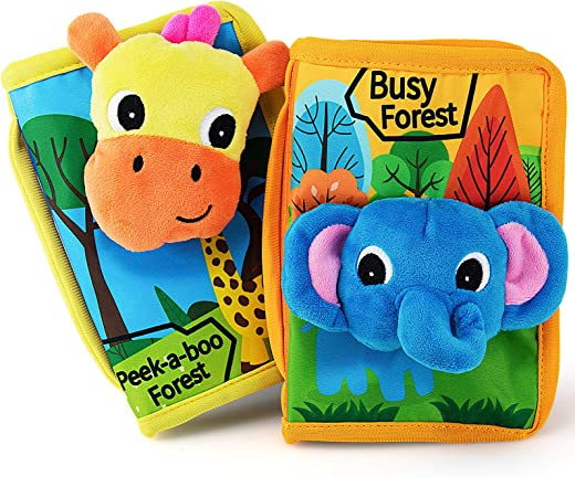 teytoy Baby Quiet Books Animal Cloth Book Infant Soft Activity Books Crinkle and Vibrant Pages 3D Learn Book Toddlers Non Toxic Travel Busy Toy - 2 pcs Busy Forest Theme Book