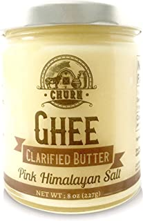 Pink Himalayan Salt Ghee Butter by Churn Ghee, Grass-Fed, Pasture Raised, Gluten Free, Lactose & Dairy Free, Paleo and Keto-Friendly, Made from Amish Roll Butter, 8 Ounces