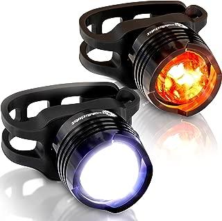 Stupidbright Micro LED Strap-On Front & Rear Bike Light Set (2 Pack)