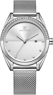 Naviforce Analog Stainless Steel Watches for Women with Diamond Date Waterproof Wristwatch