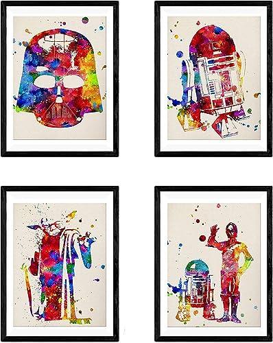 NACNIC Set 4 posters Star Wars. Décoration murale de style aquarelle avec Yoda, Darth Vader, R2-D2 et C3PO. Affiches ...