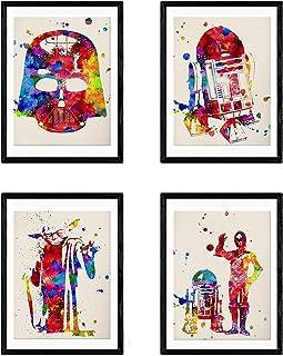 Nacnic Set 4 Posters Star Wars. Décoration Murale de Style Aquarelle avec Yoda, Darth Vader, R2-D2 et C3PO. Affiches Magni...