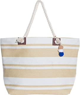 Beach Bag By Pier 17 - Beach Tote Bag withTop Zipper Closure, Cotton Rope Handles, 2 Inner Pocket, Built-In Inner Backing for Extra Durability - L20