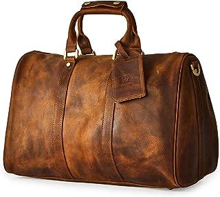 Men's Genuine Leather Utility Classic Doctor Duffel Weekend Work Bag w/Shoulder Strap