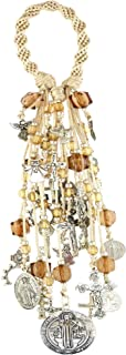 Life on Motion Home Door Blessing Catholic Decor Saint Benedict Protection San Benito Proteccion Virgin Mary Archangels Crucifix Spirally Woven Design 22 Charms B100BEIGE