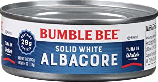 BUMBLE BEE Solid White Albacore Tuna Fish in Water, Canned Tuna Fish, High Protein Food, Wild Caught, Gluten Free, 5 Ounce...