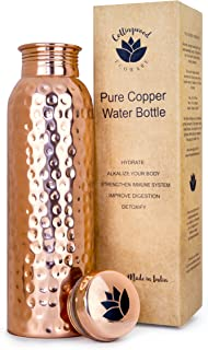 Pure Copper Lotus Water Bottle by Collingwood Ecoware | 900ml | Yoga Bottle | Ayurvedic Health Benefits | Eco-friendly & Reusable Metal Water Bottle