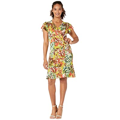 eci Flutter Sleeve Tropical Palm Print with Side Button Details (Mustard) Women