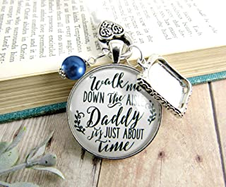 Wedding Bouquet Charm Walk Me Down The Aisle Daddy White Blue Memorial Jewelry Keepsake Gift Personalized Photo Frame