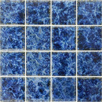 Amazon Com 5 Sf 3x3 Sea Blue Tile For Wall Spa Swimming Pool Shower Kitchen Countertop Bathroom Sink Backsplash Home Kitchen