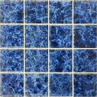 Vogue Premium Quality Square Blue Calacatta Porcelain Mosaic Glossy Tile for Bathroom Floors Walls and Kitchen Backsplashes 12x12-1 Square Foot Pool Tile Designed in Italy