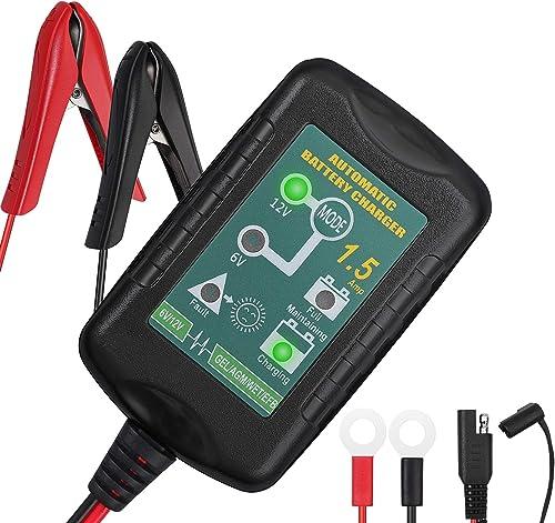 AUTOUTLET Chargeur de Batterie Voiture 6V / 12V 1.5A Mainteneur de Batterie avec Serre-Câbles et Bornes à Joint Toriq...