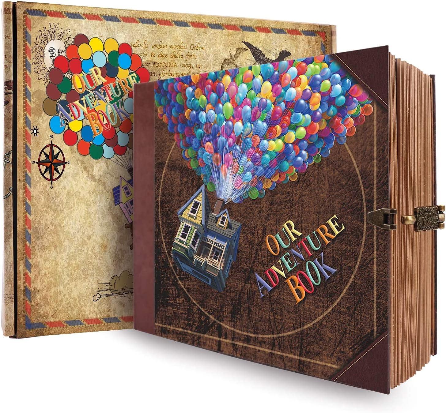JIMBON Adventure Book Travel Diary Photo Book, Scrapbook, Retro Style Travel Souvenir, Guestbook DIY Anniversary Wedding Travel Writing Baby Friend Gift, Vintage Brown (Multicolored)