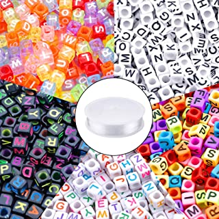 1400pcs 5 Color Acrylic Alphabet A-Z Cube Beads Letter Beads with 1 Roll 50M Elastic Crystal String Cord for Jewelry Makin...