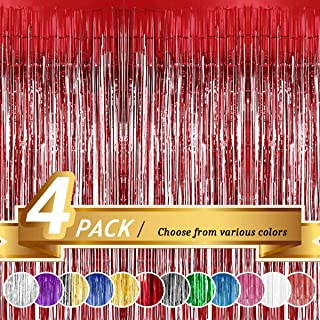 BTSD-home Red Foil Fringe Curtain, Metallic Photo Booth Tinsel Backdrop Door Curtains for Wedding Birthday and Special Festival Decoration(4 Pack, 12ft x 8ft)