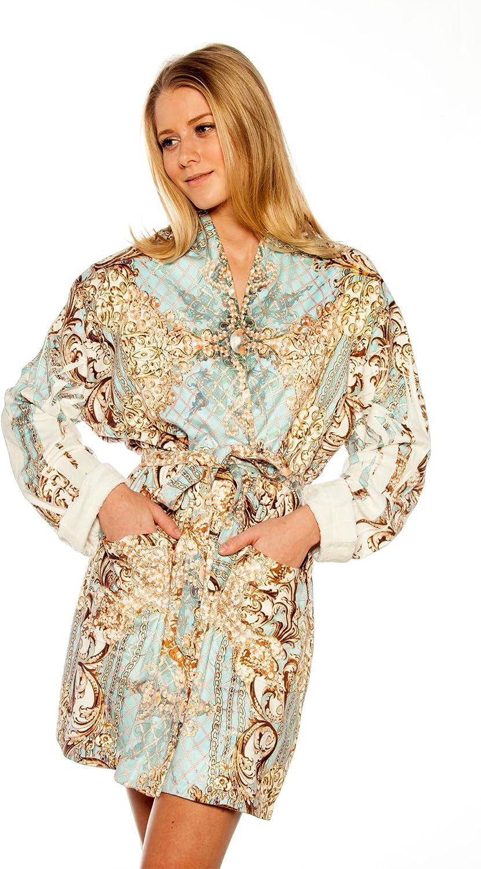 Wrap Up by VP Pearl Maximum bluee Microfiber Short Robe, S M